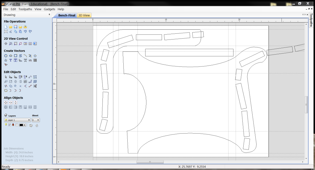 Initial Cad Layout in Vcarve Pro